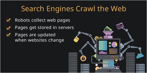 search engines crawl the web, storing pages in servers for use during information retrieval to answer user queries