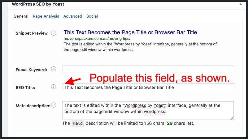 populating the browser page title text field within wordpress, using yoast