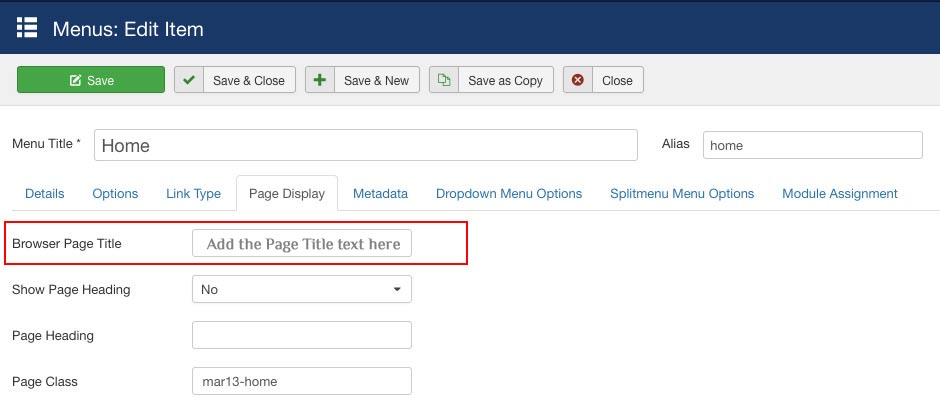 editing the SEO title of a joomla page