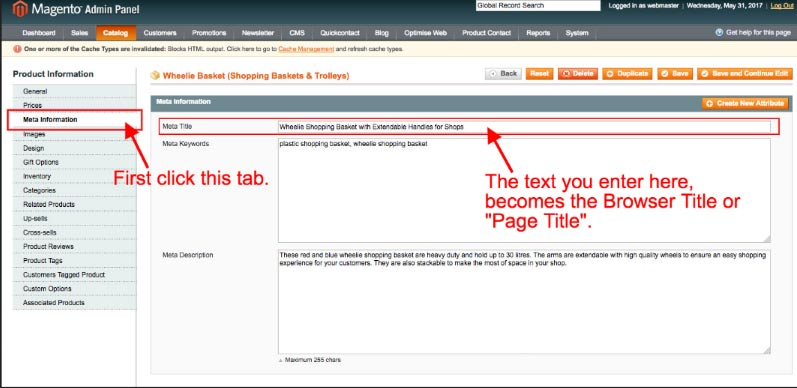 assigning text for the browser bar page title, to a product within Magento